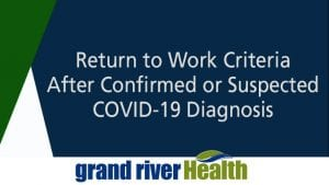 Return to Work Criteria after Confirmed or Suspected COVID-19 Diagnosis