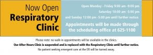 Respiratory Clinic Now Open